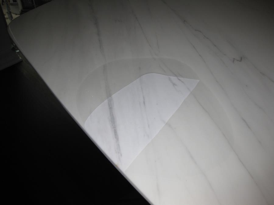 Defective Acrylic Coating on Marble Dining Table is detaching from stone surface